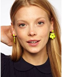 ASOS - Yellow Opaque Chandelier Earrings - Lyst