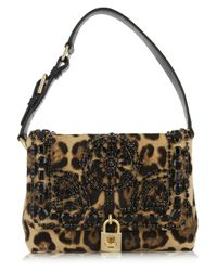 Dolce & Gabbana Multicolor Miss Dolce Medium Leopard Print Calf Hair Shoulder Bag