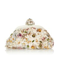 Dolce & Gabbana White Miss Dea Small Embellished Lace Clutch