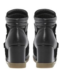 Dune Black Lacota Multistrap Leather Wedge Trainers