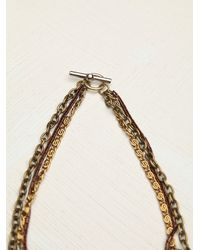 Free People - Metallic Womens Mixed Chain Drop Collar - Lyst