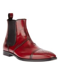 John Galliano Red Chelsea Boots for men