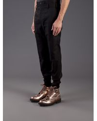Juun.J Black Double Layered Waistband Trouser for men
