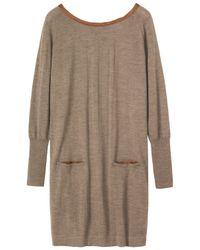 Toast Brown Silk Trim Merino Wool Jumper Dress