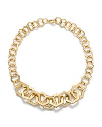 Tory Burch Metallic Hexagon Link Necklace