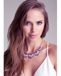 Bebe - Purple Chevron Stone Necklace - Lyst