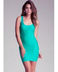 Bebe Green Back Cutout Shine Dress
