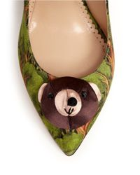 Charlotte Olympia Green Enchanted Forest Print Teddy Bear Satin Pumps