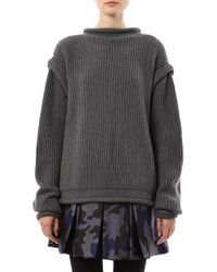 Christopher Kane - Gray Ribbed-knit Cashmere Buckle Cardigan - Lyst