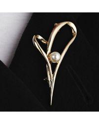 John Lewis | Metallic Heart Pearl Brooch | Lyst