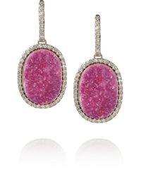 Kimberly Mcdonald - Pink 18karat White Gold Cobalto Calcite and Diamond Earrings - Lyst