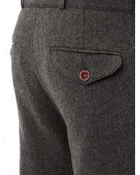 Oliver Spencer Gray Fishtail Wool Tweed Trousers for men