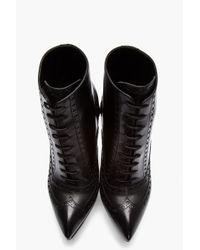 Saint Laurent Black Leather Brogued Oxford Janis Boots