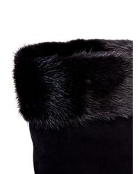 Sergio Rossi - Black Fur-trimmed Suede Boots - Lyst