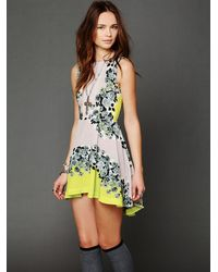 Free People | Yellow Acid Bloom Kick Out Dress | Lyst