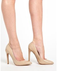 Slim Heel Synthetic Court Shoes Shoes - Beige | Stiletto
