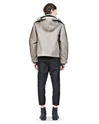 Alexander Wang Gray Bomber with Shearling Lined Hood for men