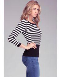 Bebe Black Logo Keyhole Stripe Sweater