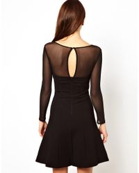 French Connection Black Skater Dress with Sheer Sleeves