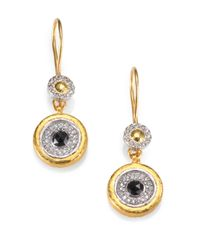 Gurhan | Metallic Glint Black/white Diamond, 24k Yellow Gold & Sterling Silver Drop Earrings | Lyst