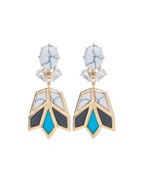 Lele Sadoughi | Metallic Goldplated Stone and Crystal Lotus Earrings | Lyst