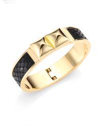 Michael Kors - Black Python-embossed Leather Bangle Bracelet - Lyst