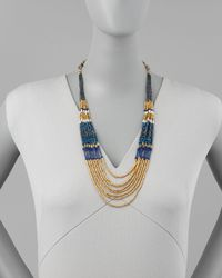 Nakamol - Layered Beaded Tier Necklace Bluegold - Lyst