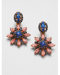 Oscar de la Renta - Multicolor Starburst Clipon Drop Earrings - Lyst