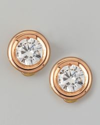 Roberto Coin Pink 18k Rose Gold Diamond Solitaire Stud Earrings