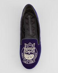 Marc By Marc Jacobs Purple Velvet Owl Smoking Slipper