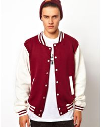 ASOS Red Reclaimed Vintage Baseball Jacket with Coyotes Print for men