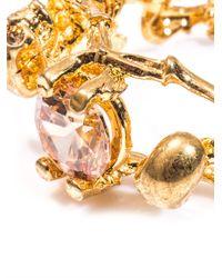Alexander McQueen Metallic Double Skeleton Topaz and Goldtone Ring