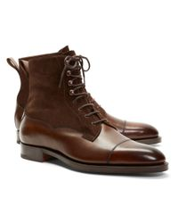 Brooks Brothers - Brown Edward Green Galway Suede And Leather Boots for Men - Lyst