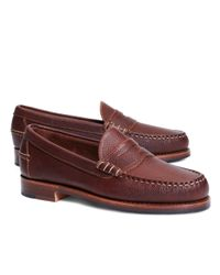 Brooks Brothers - Brown Football Leather Penny Loafers for Men - Lyst