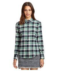 Brooks Brothers Green Plaid Flannel Shirt