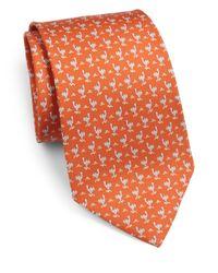 Ferragamo - Orange Ostrich Print Silk Tie for Men - Lyst