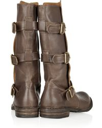 Fiorentini + Baker | Brown Eternity Buckled Leather Midcalf Boots | Lyst