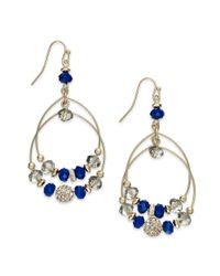 INC International Concepts - Blue Goldtone Wire Beaded Hoop Earrings - Lyst