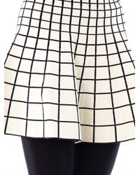 Ohne Titel White Grid Intarsiaknit Skater Skirt