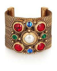 Oscar de la Renta Metallic Gold-plated Faux Pearl and Glass Cuff