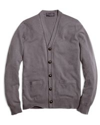 Brooks Brothers - Gray Cashmere Button-front Cardigan for Men - Lyst