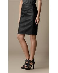 Burberry Black Panelled Leather Pencil Skirt
