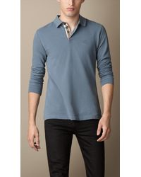 Burberry Blue Long Sleeve Polo Shirt for men