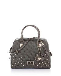 Guess | Gray Shiri Studded Medium Dome Satchel Bag | Lyst
