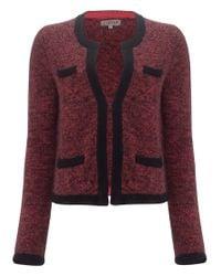 Jigsaw Black Tweed Lambs Wool Knitted Jacket