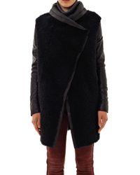 Anne Vest - Black Leather Sleeve Shearling Coat - Lyst