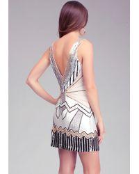 Bebe Black Art Deco Embellished Shift Dress