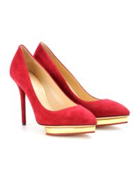 Charlotte Olympia Red Debbie Suede Pumps