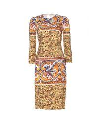 Dolce & Gabbana Yellow Printed Crepe Dress