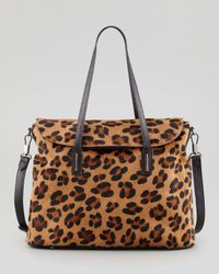 Elizabeth and James Multicolor Leopard Print Calf Hair Satchel Bag